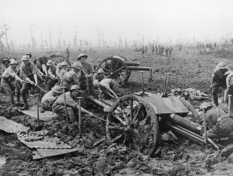 British artillery stuck in the mud of the battle for the Somme.