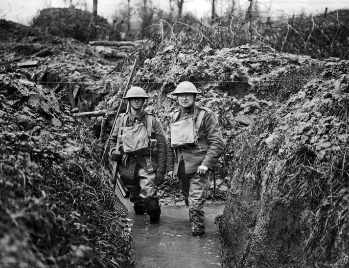 Flooded trench on the Western Front.