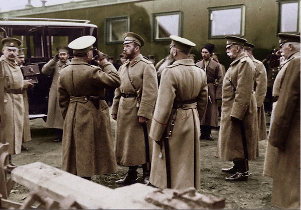 Russian Tsar Nicholas consults his generals, Poland, date uncertain.