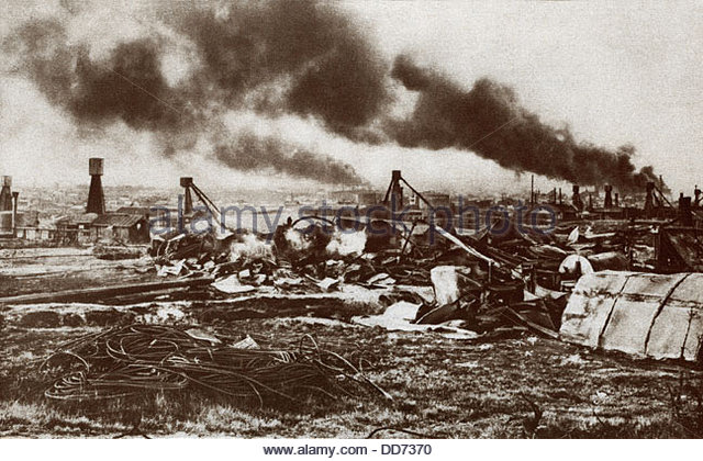 Destroyed oil field in Romania, 1916.