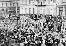 Russians protesting in Petrograd, February 1917.