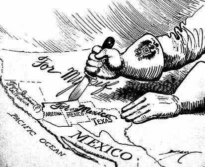 Anti-German political cartoon, appealing to Mexico to join the war.