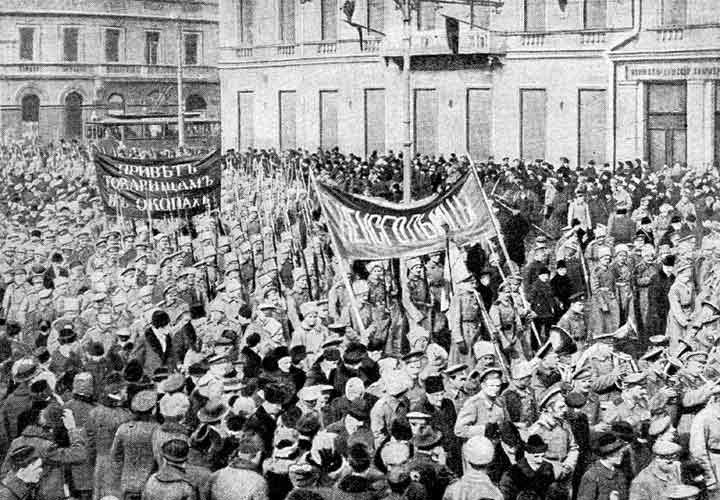 Civilians and soldiers join hands as revolution breaks out in Petrograd.