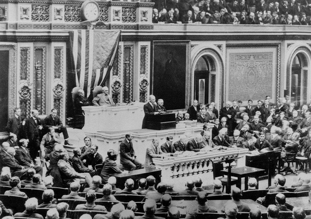 Wilson addresses a joint session of Congress.