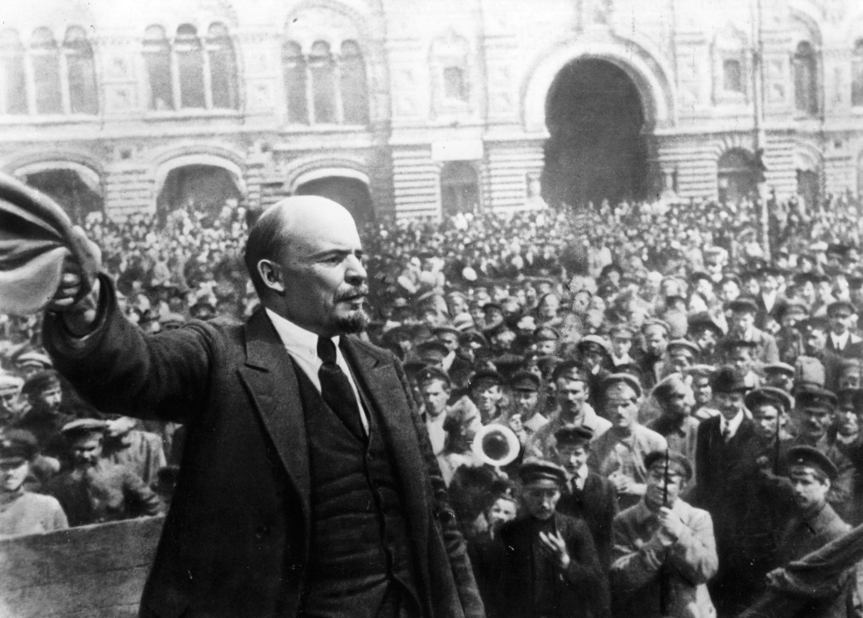 Vladimir Ilyich Lenin (1870 - 1924), Russian revolutionary, making a speech in Moscow. Original Publication: People Disc - HG0194 (Photo by Keystone/Getty Images)