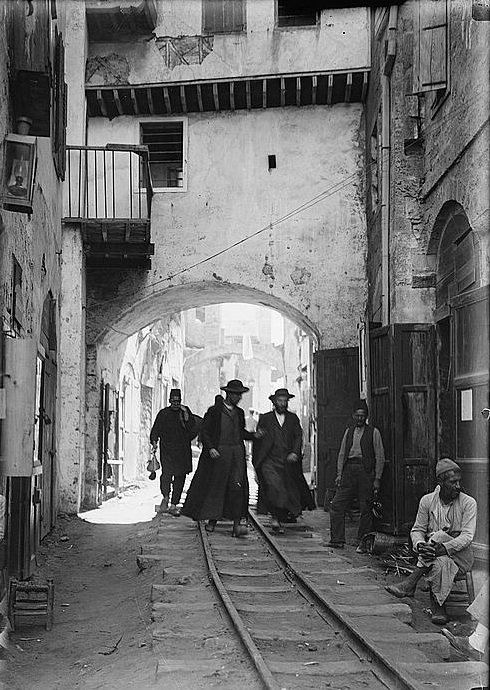 An orthodox Jewish neighborhood in Jaffa, Palestine.