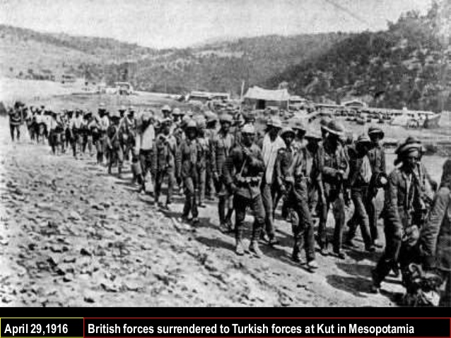 Thousands to British and Indian soldiers on march from Kut to Baghdad, May 1916.